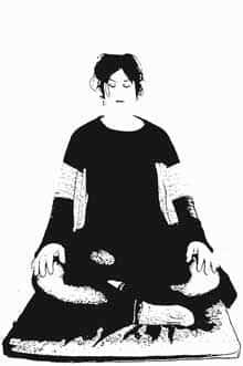Meditationsposition Schneidersitz mit Spezialsitzkissen